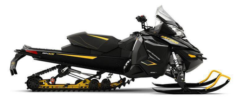 snowmobile with yellow stripes